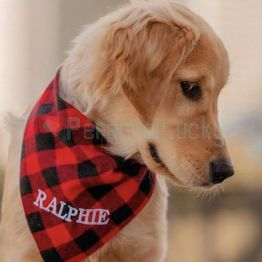 Personalized Embroidered Premium Plaid Dog Bandana