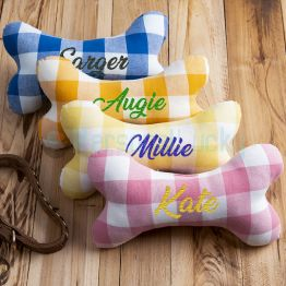 Personalized Dog Squeaky Toy Dog Bone Toy With Embroidered Name